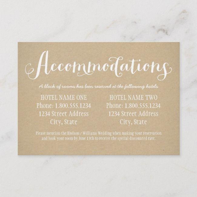 Rustic Kraft White Script Wedding Accommodations Enclosure Card Zazzle Com Wedding Accommodations Accommodations Card Wedding Enclosure Cards