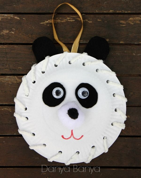 Preschoolers can practise their fine motor threading skills to make a cute paper plate panda (or three).