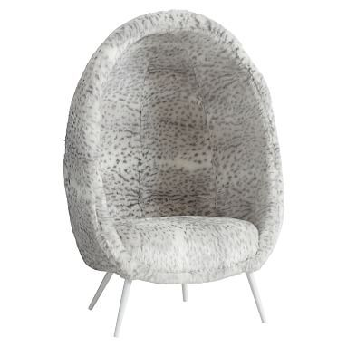 Gray Leopard Faux Fur Cave Chair Products