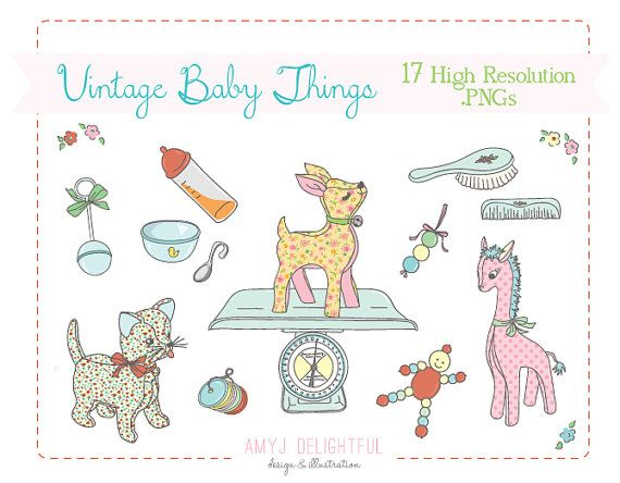 sweet baby things clip art set instant download for personal and commercial use wipes  diapers Baby Food Clip Art Baby Diaper Clip Art