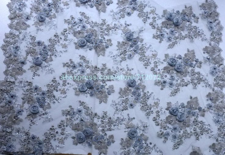 On sale Gray 3D rose handmade flower wedding dress/show dress/evening dress lace fabric 51'' width by the yard