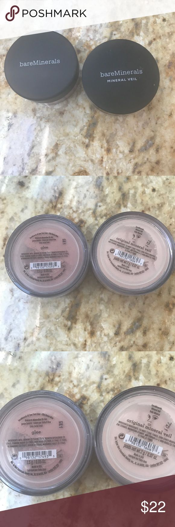 Bare minerals New mineral veil & Glee Blush Bare minerals set New Original mineral veil and New Glee blush. Unopened  Glee is a nice warm blush.  Happy Shopping! Makeup Blush