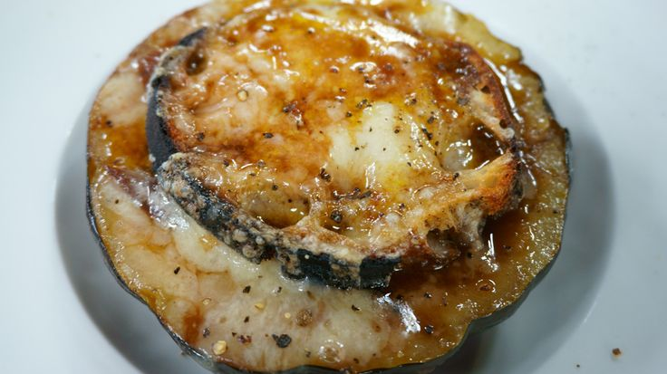Courge soupe à l'oignon gratinée