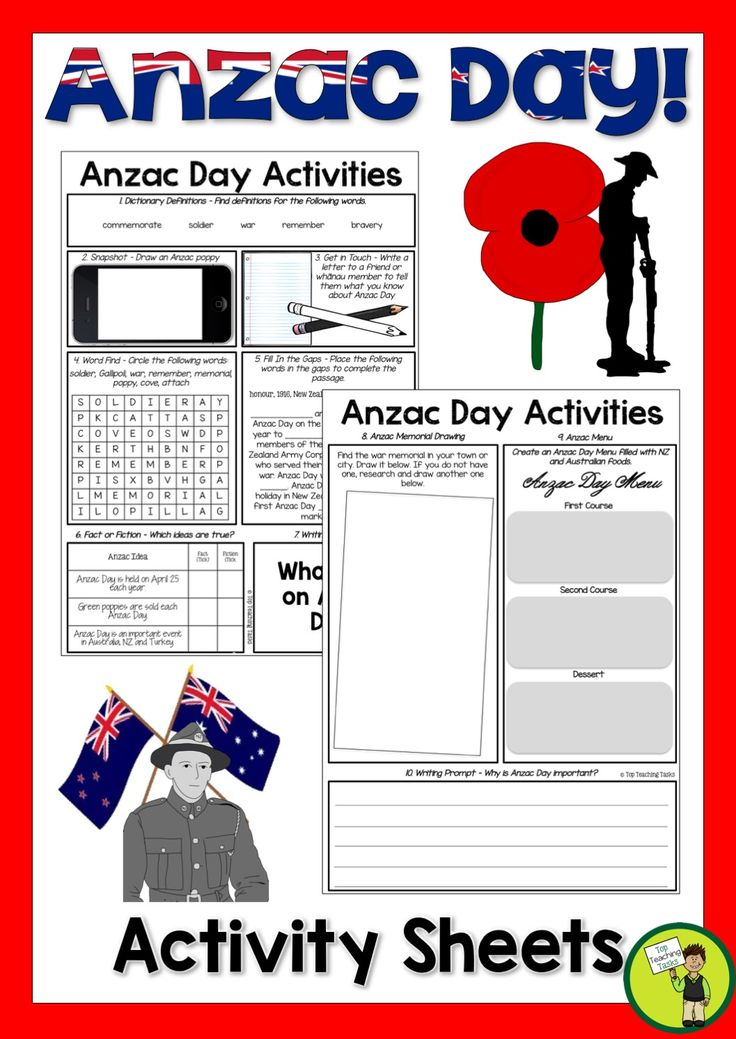 Let us save you time this Anzac Day with our FREE Anzac Day activities.   In this pack you will receive:   Anzac Day Activities - Dictionary Skills - Draw an Anzac Day poppy - Letter Writing - Word Find - Cloze Reading - Fact or Fiction - Writing Prompt - Anzac Memorial Drawing - Anzac Menu - Writing Prompt  Answers are provided also!