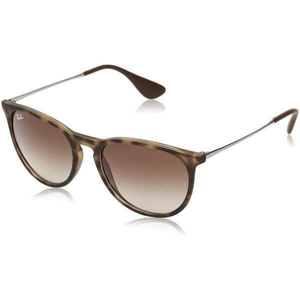 Ray-Ban Women's Erika Wayfarer Sunglasses ($160) ❤ liked on Polyvore featuring accessories, eyewear, sunglasses, ray ban glasses, ray ban eyewear, gradient lens sunglasses, ray ban sunglasses and tinted glasses
