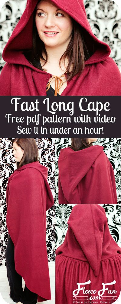 Under and hour and video tutoiral - awesome! Fast hooded cape free pattern and tutorial by www.fleecefun.com