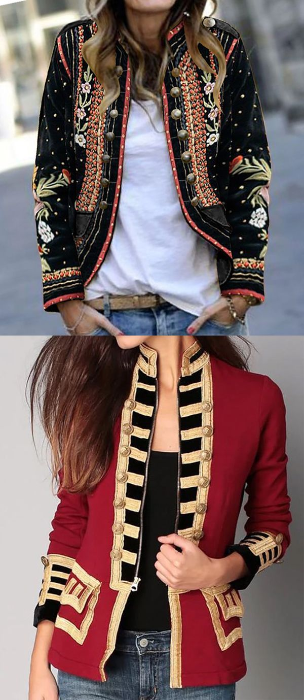 Hot Sale Long Sleeve Fall Jackets For Female #ShortJackets #SmallCoat #WomenCoat…