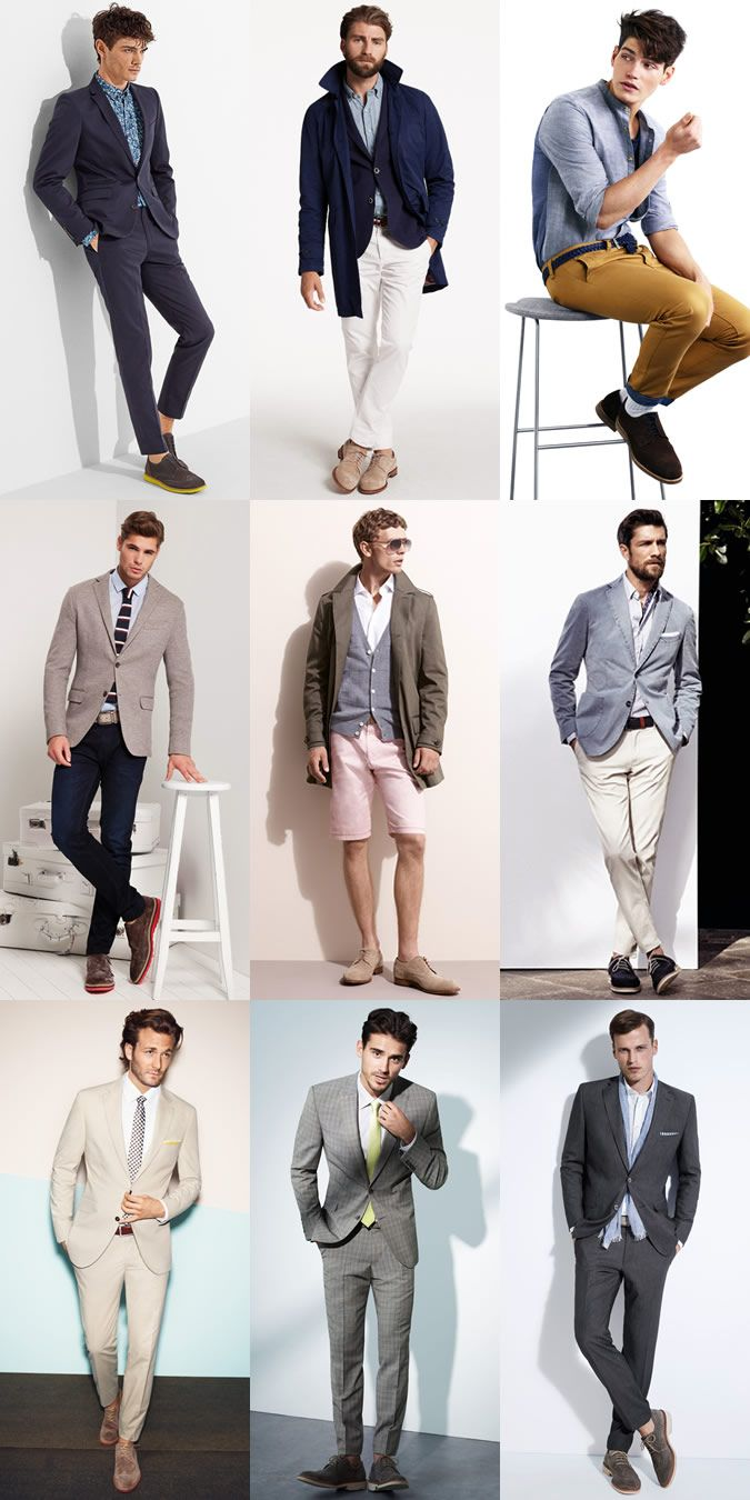 Menswear Summer Alternatives: Leather Brogues To Suede Brogues Lookbook Inspiration