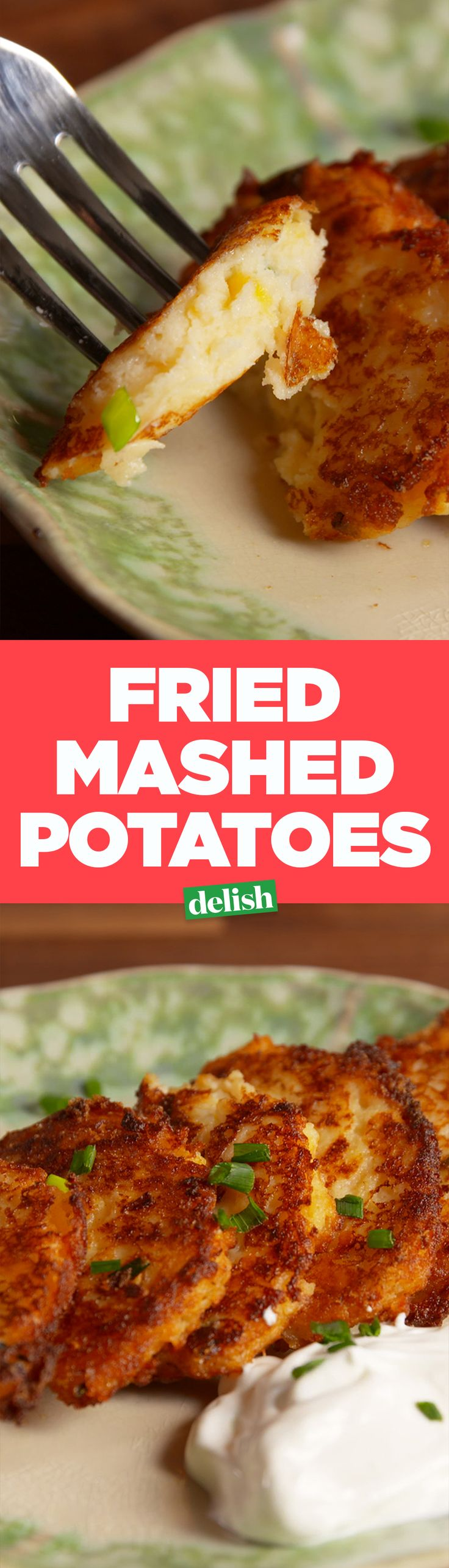 Fried mashed potatoes are the best thing to do with your Thanksgiving leftovers. Get the recipe on Delish.com.