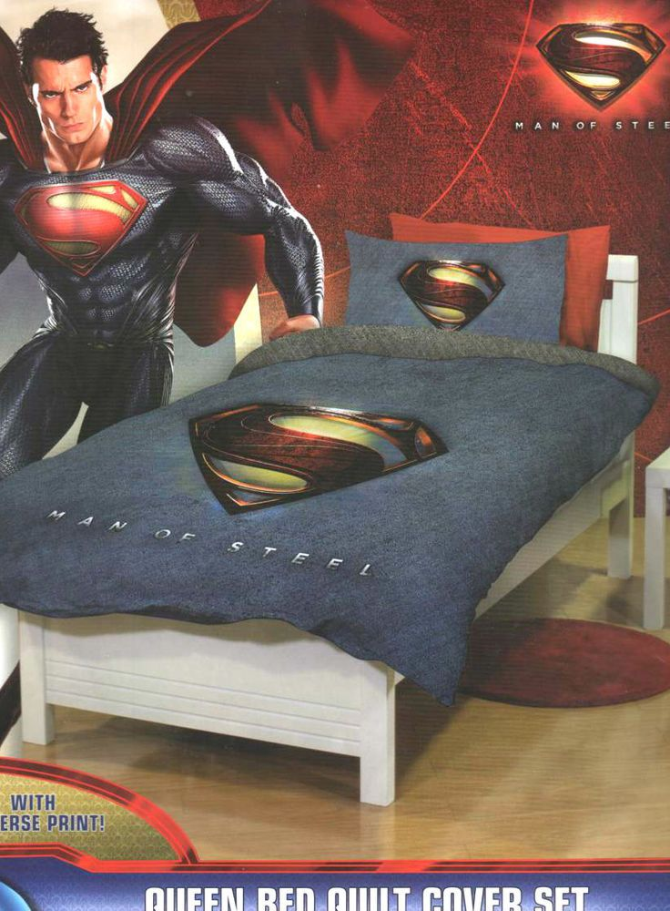 SUPERMAN LOGO Man of Steel Blue Grey Reversible QUEEN Quilt Cover Set LICENSED