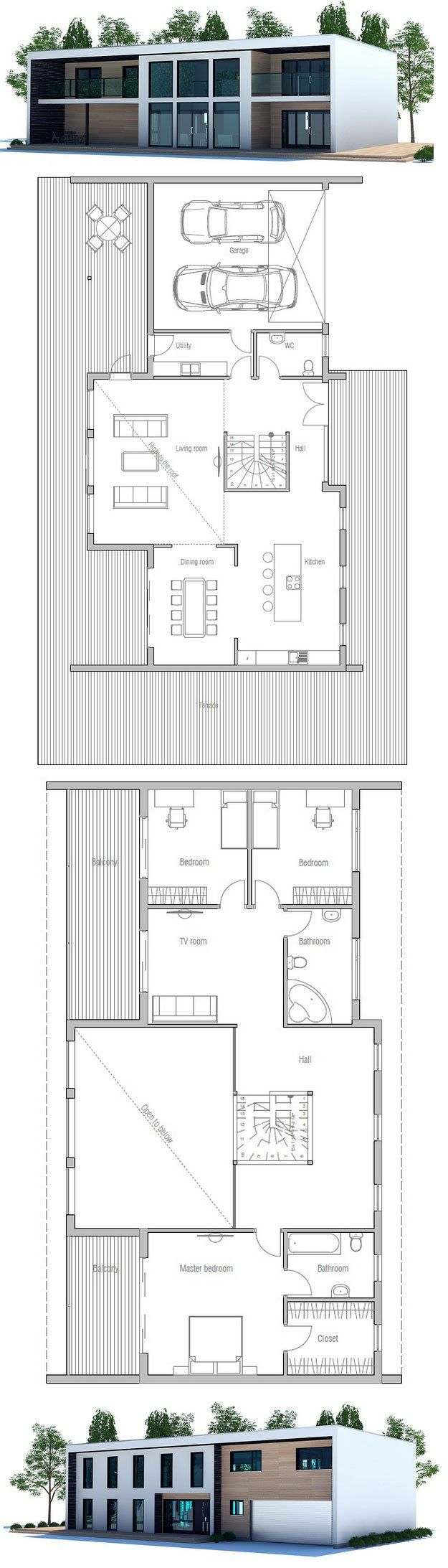 63 best images about modern house plans on pinterest for Wide lot house plans
