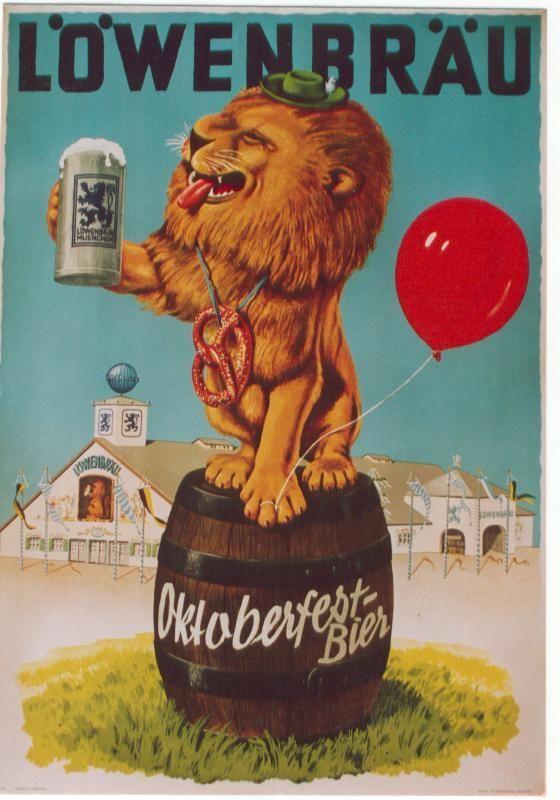 Wahrzeichen des Oktoberfests... Der Löwenbrau-Löwe Original vintage poster LOWENBRAU OKTOBERFEST-BEER Lion | eBay