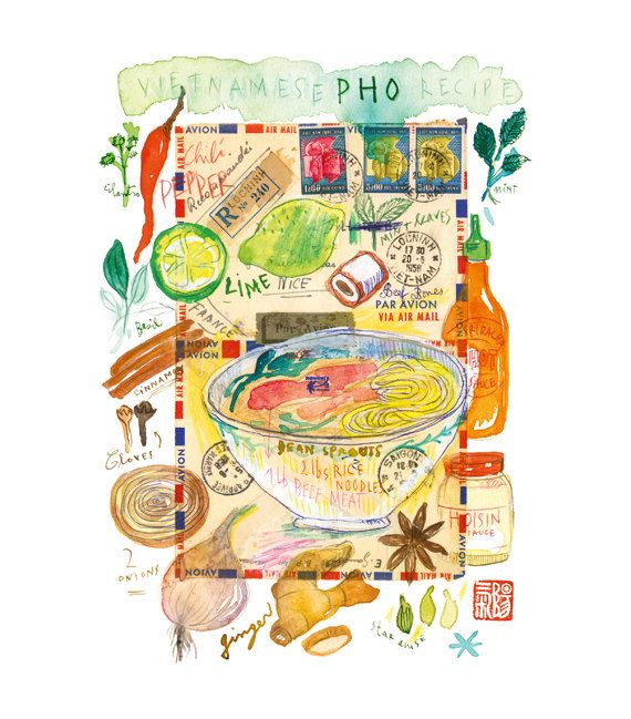 Pho recipe watercolor painting  Art for kitchen  by lucileskitchen