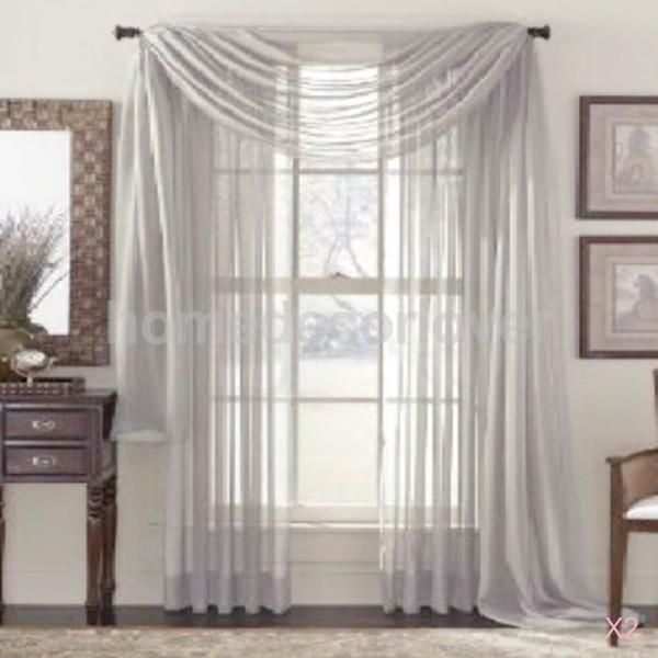4 76 Gbp 2x Solid Scarf Sheer Voile Balcony Window Curtain Drape Valance Gray 100x200cm Ebay Home Garden Curtain Decor Curtains Voile Curtains