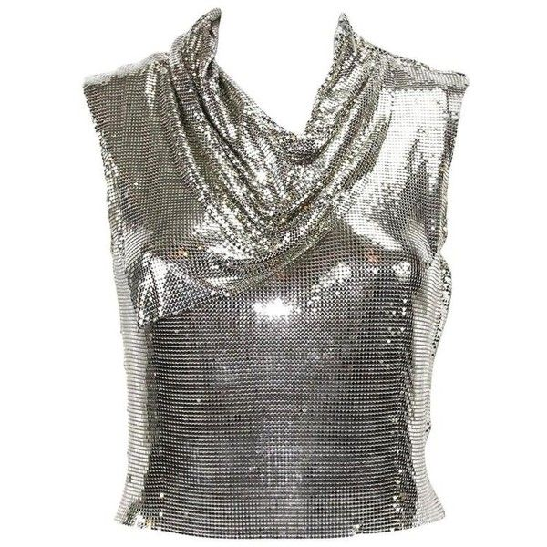 Preowned Gianni Versace Couture 90s Metallic Mesh Silver Top It.38 ($2,995) ❤ liked on Polyvore featuring silver, draped tops, drapey tops, versace top, zipper top and metallic top