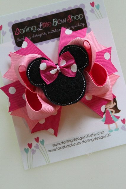 Super cute Minnie bow!    Minnie Mouse Bow - Hot pink Minnie Mouse Bow - Darling Little Bow Shop. $9.95, via Etsy.