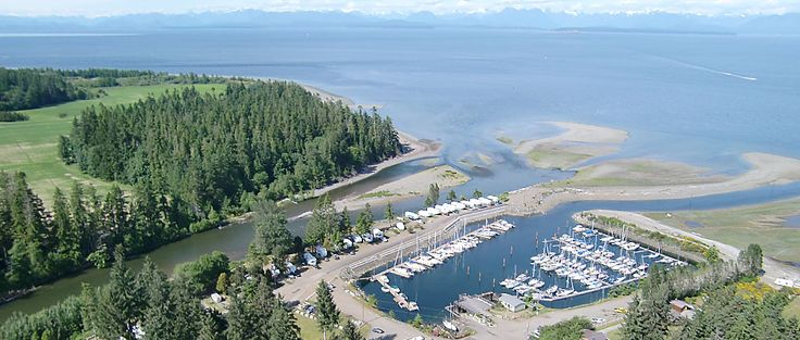 A picture of the Pacific Playgrounds Marian and the mouth of the Oyster River taken from a drone.
