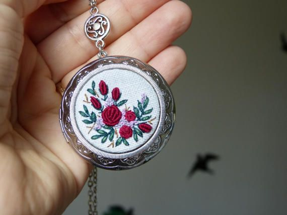 Roses necklace big locket pendant. Embroidered jewelry.