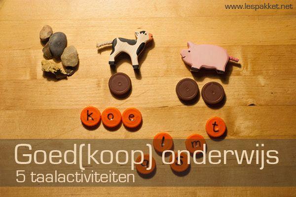 Goed(koop) onderwijs: 5 taalactiviteiten - jufBianca.nl - kosteloos materiaal - beschrijven - woordveld - letters herkennen en benoemen - hoeveel woordstukken - vertel me wat je ziet - rekenbegrippen