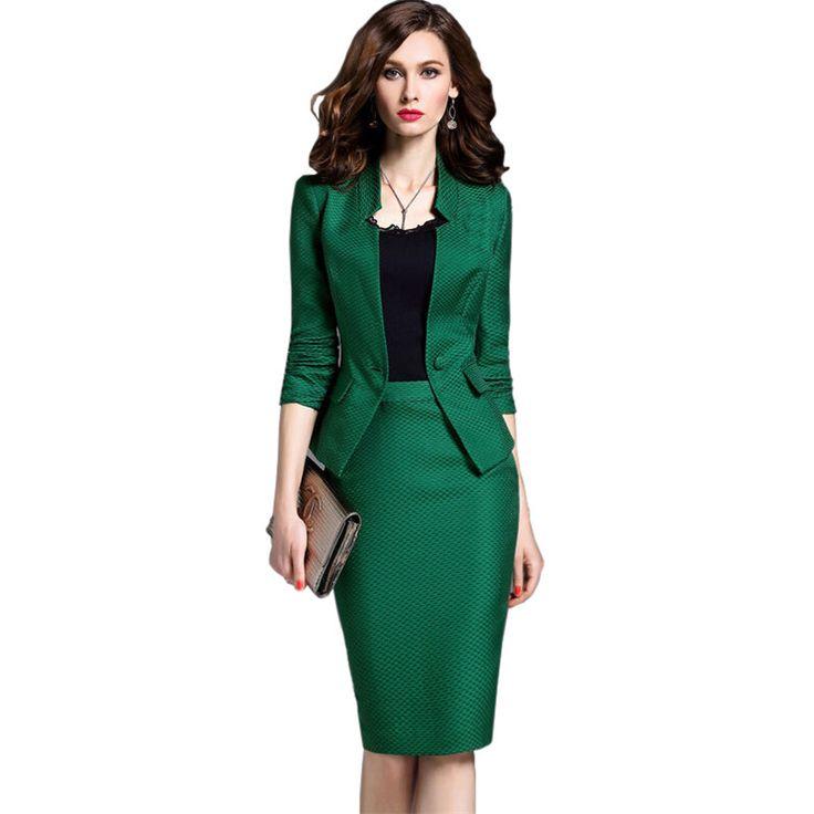 秋の女性のセット黒/緑長袖シングルボタンビジネススーツブレザー+チェック柄膝丈ペンシルスカートツーピースセット