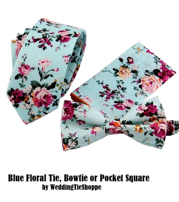 Blue Floral Tie or Bow Tie or Pocket Square Groomsman Wedding