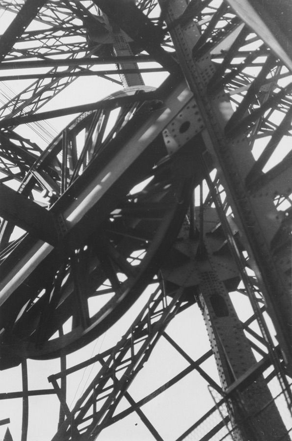 Germaine Krull  'La Tour Eiffel' (The Eiffel Tower)  ca. 1928. Gelatin silver print, 9 1/8 in. x 6 1/6 in  Collection of the Sack Photographic Trust of the San Francisco Museum of Modern Art  © Estate Germaine Krull, Museum Folkwang, Essen