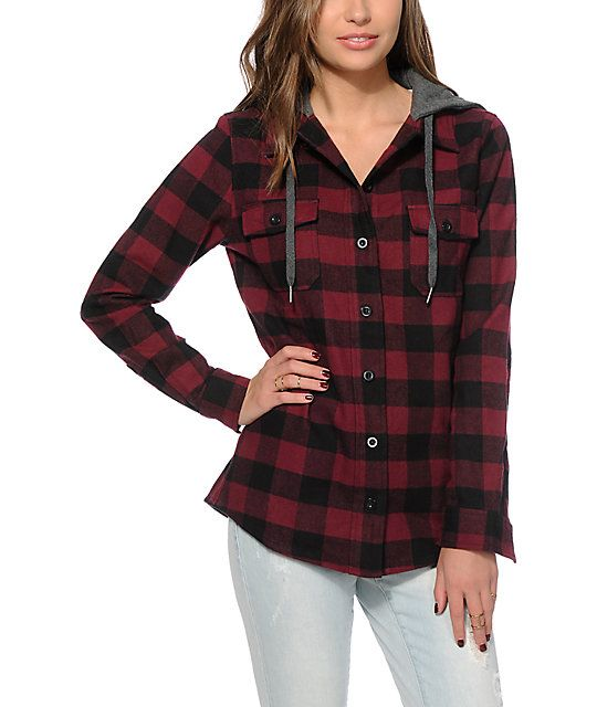 Get a dynamic look with no shortage of style in this thick and heavy weight flannel jacket covered in a black and burgundy buffalo plaid print that is accented by a charcoal fleece hood.