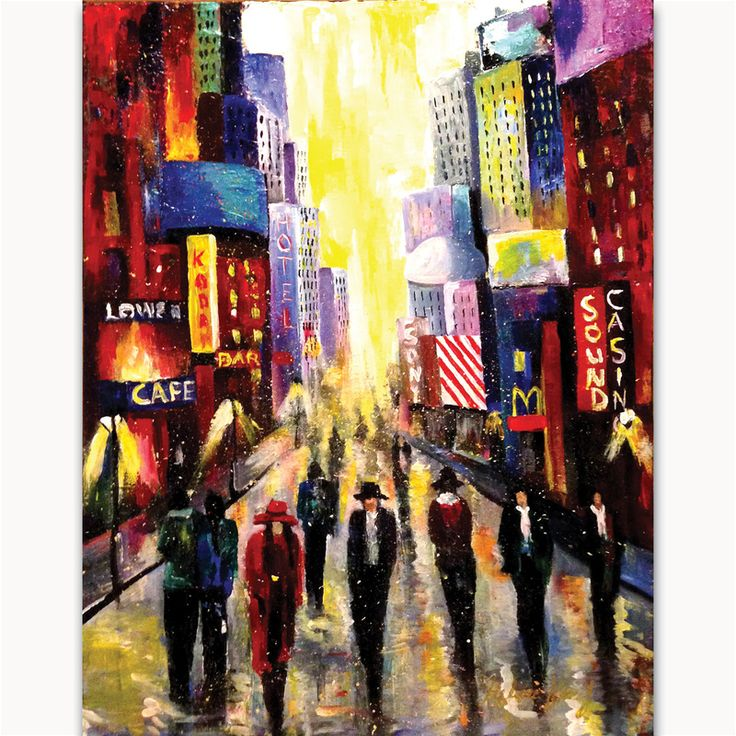 Streets of New York Size: 24 x 18 in. Medium used: Acrylic