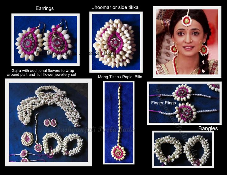 Flower Jewellery made with real jasmine flowers, pink woollen thread and kundan applique for Mehndi Function.