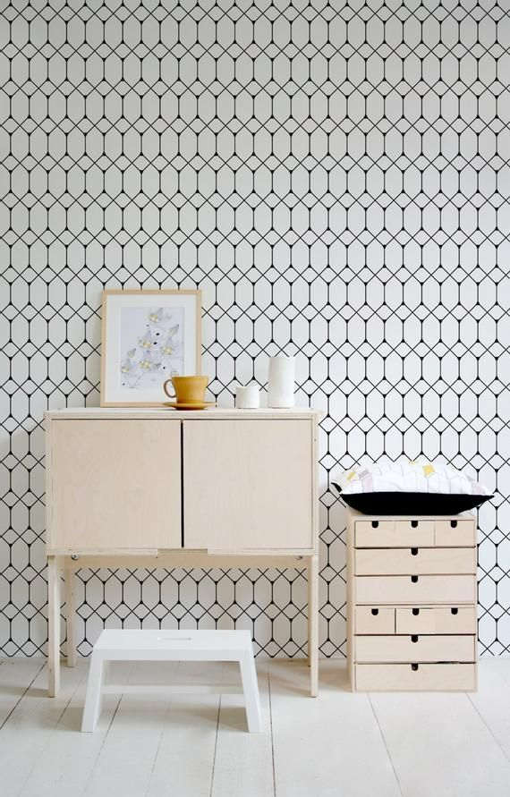 Removable Wallpaper Peel And Stick Wallpaper Wall Paper Wall Etsy Geometric Wallpaper Removable Wallpaper Scandinavian Wallpaper