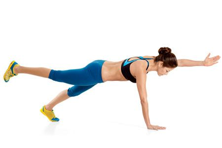 Wide-Stance Plank with Opposite Arm and Leg Lift: one (of three) non-crunch moves that'll melt your midsection: Pilates Inspiration, Non Crunches Moving, Abs Workout, Advanced Version, Opposites Arm, Legs Lifting, Midsect Meltdown, Wide St. Planks, Colors Exercise