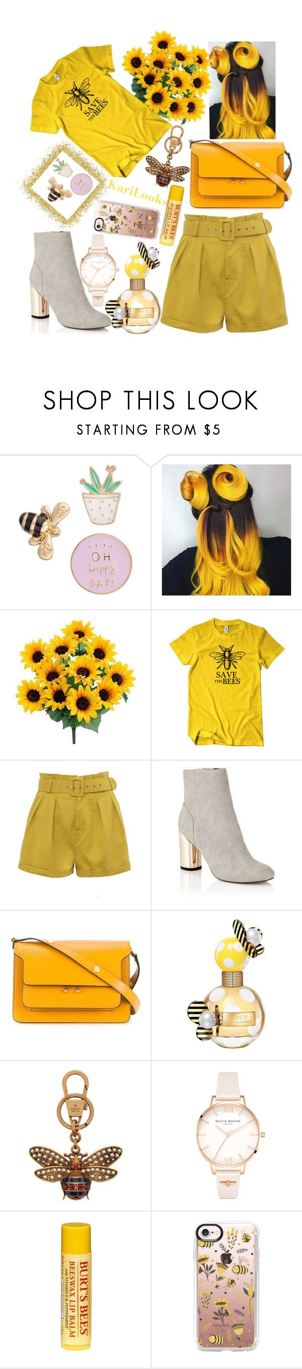 """SAVE the BEES 🐝"" by karilooks ❤ liked on Polyvore featuring LC Lauren Conrad, Miss Selfridge, Marni, Marc Jacobs, Gucci, Olivia Burton, Burt's Bees and Casetify"