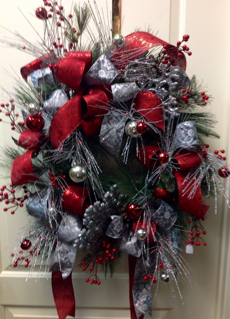 Silver and red christmas wreath ohio state buckeyes for Red and silver christmas decorations