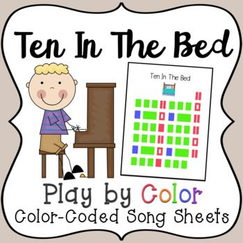 This download is for the Ten In The Bed Color-Coded Song Sheet. Play by Color, Color-Coded Song Sheets are an exciting music activity, where children can explore the piano and play their favorite songs by reading color-coded song sheets!