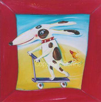 Lekker steppen! - Schilderij hondje huisdier kunstwerk hond schilderij in opdracht