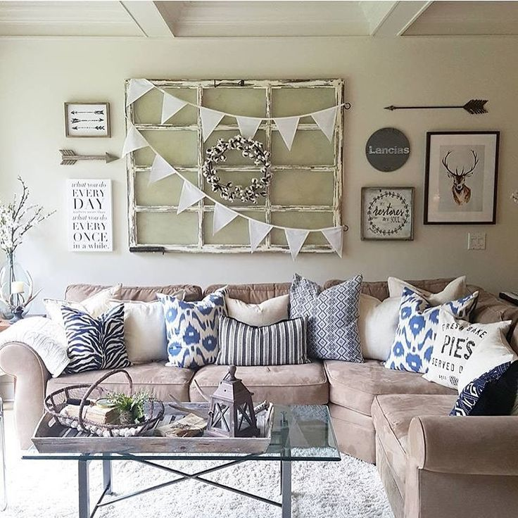 Gallery wall above couch. See this Instagram photo by @juliesheartandhome • 2,008 likes