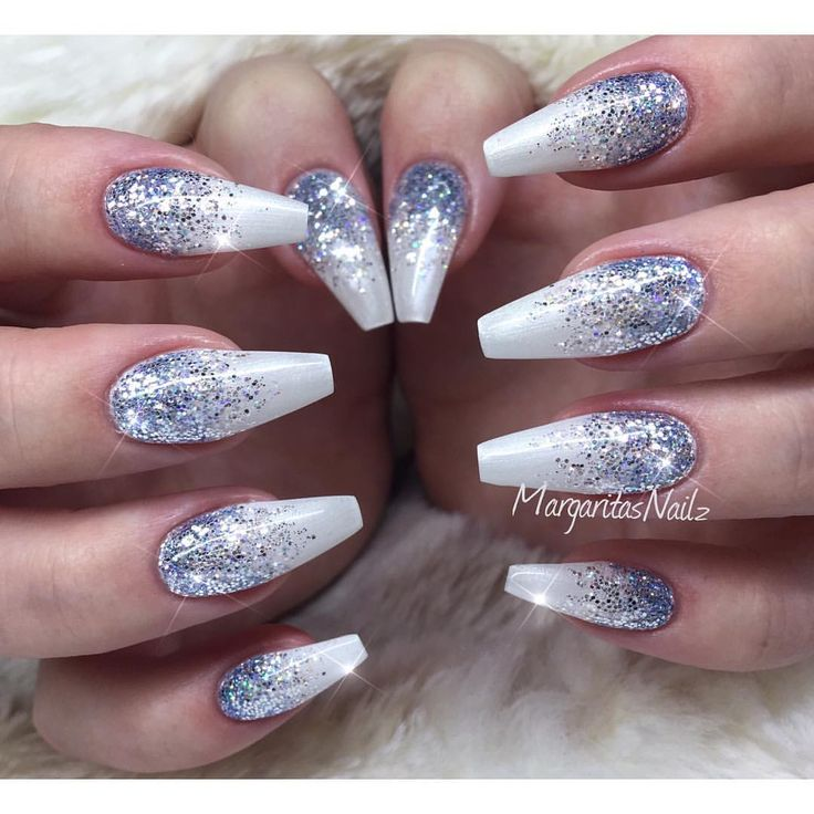 Best 25 winter acrylic nails ideas on pinterest silver acrylic winter glitter nails by margaritasnailz from nail art gallery prinsesfo Images