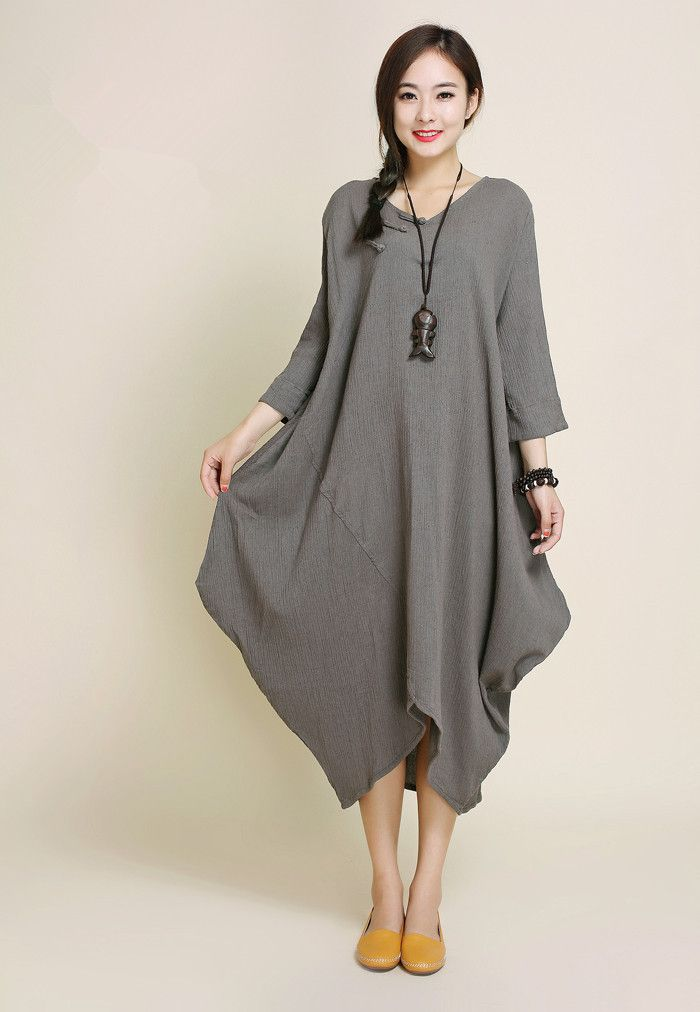 women 3/4 sleeve cotton linen dress- Buykud -                                                                                                                                                      More
