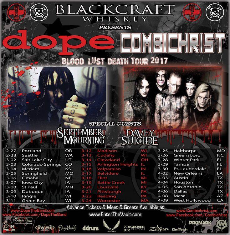 "DOPE Announces Co-Headlining ""Blood, Lust, Death Tour"" with Combichrist | Digital Tour Bus"