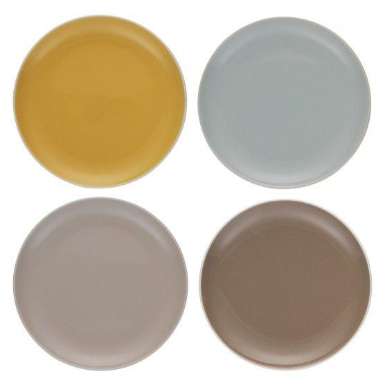 REX Set of 4 multi-coloured side plates D21cm