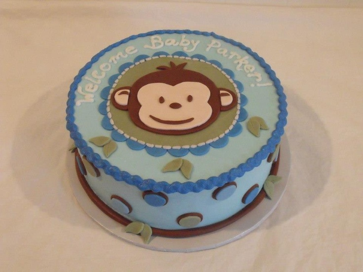 22 best baby shower cakes images on pinterest polka dot fabric baby bird shower and baby owls - Monkey baby shower cakes for boys ...