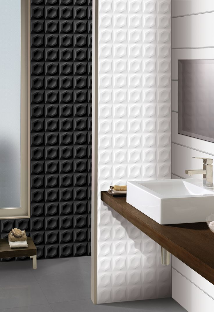 Foster - 250x750mm tile. Comes in black or white. Glazed ceramic suitable for bathroom applications.