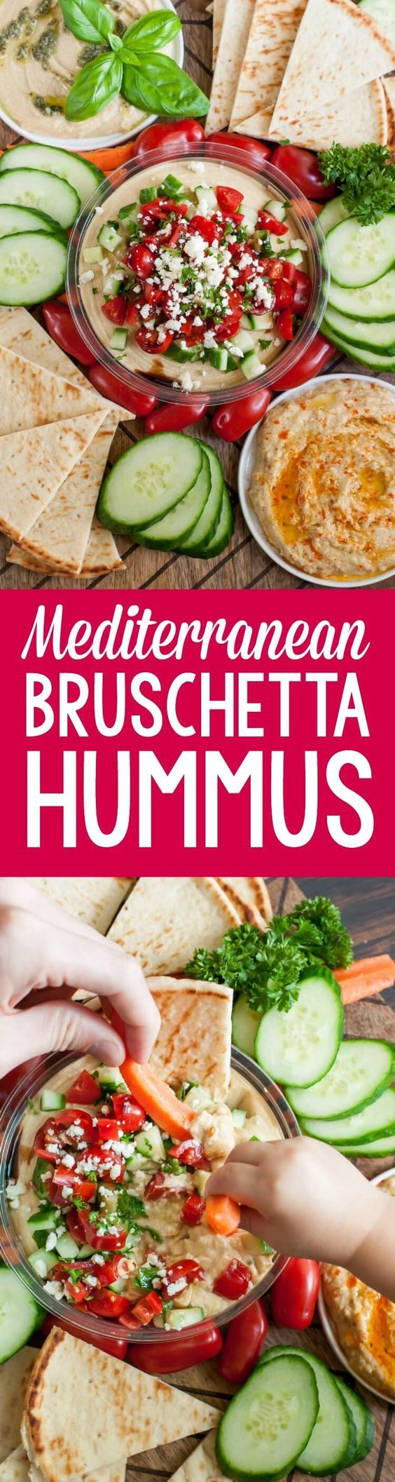 Snag a tub of your favorite hummus and whip up this Mediterranean Bruschetta Hummus snack platter for a tasty pre-dinner snack that's sure to satisfy!