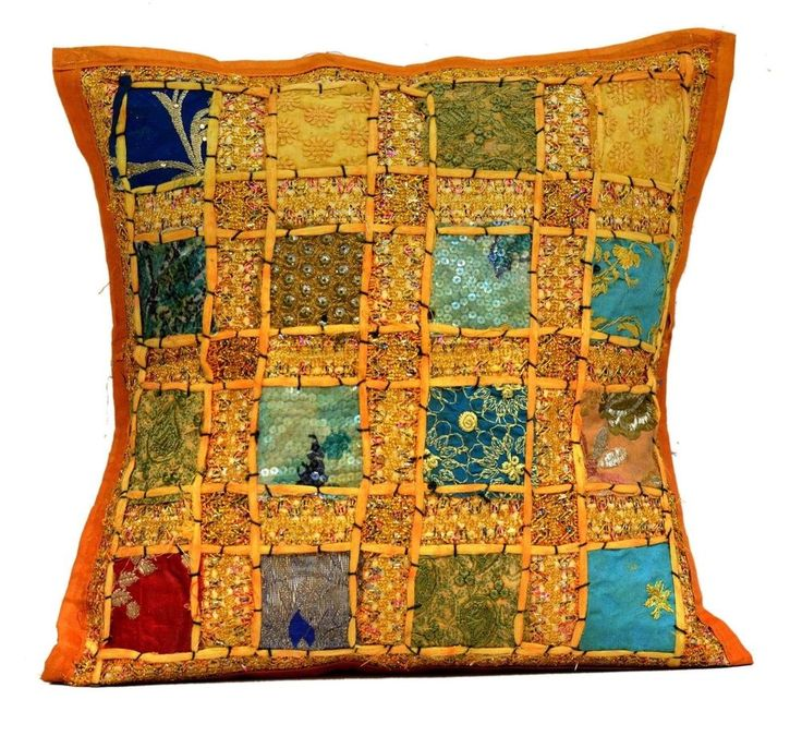 An Embroidery Sequin Patchwork CAN Traditional Pillow Cushion Cover Dark Yellow #amazingindia #Traditional