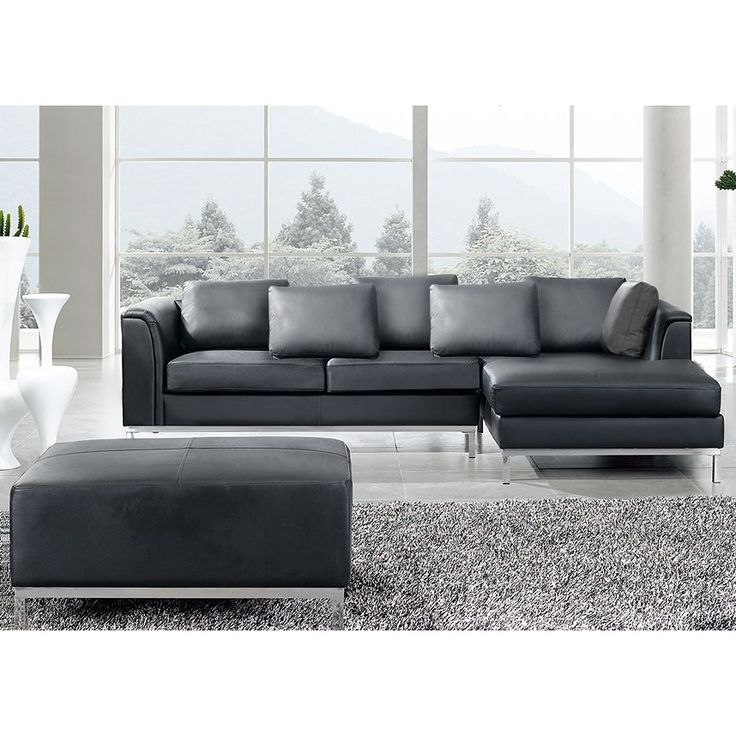Beliani Oslo Black Modern Sectional Leather Sofa With Ottoman   Overstock  Shopping   Big Discounts On Beliani Sectional Sofas