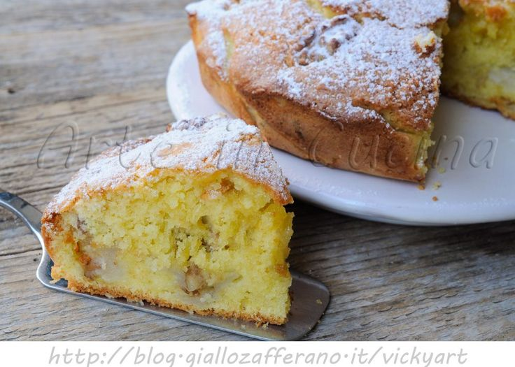 Torta con pere e noci morbida, ricetta facile, torta alla frutta, dolce al burro, ricetta veloce, morbido, merenda, colazione, dolce per ospiti all'improvviso