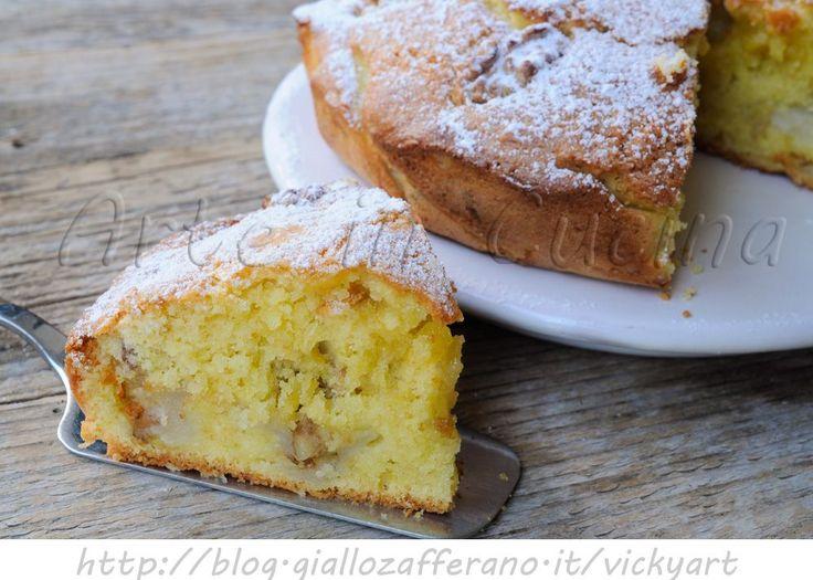 Torta+con+pere+e+noci+morbida+ricetta+facile