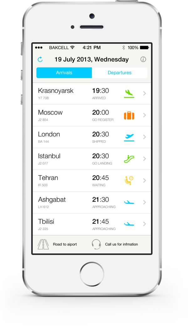 iPhone app for Heydar Aliyev International Airport's (GYD) international flight schedule.
