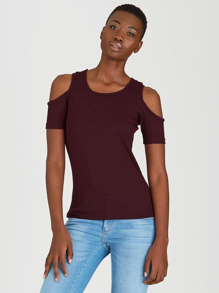 Cold Shoulder Ribbed T-shirt Dark Purple