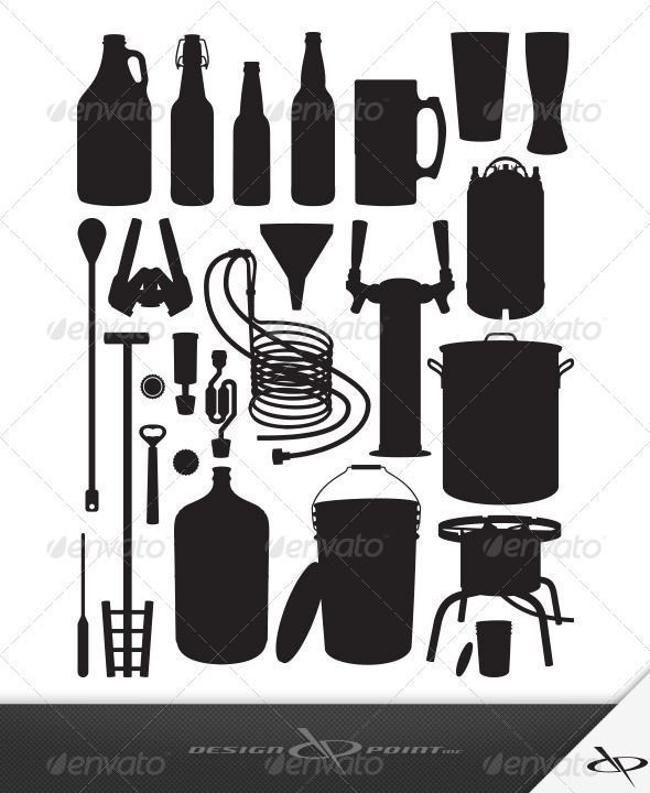Home Brewing Equipment #vector #eps #wort chiller #growler • Available here → https://graphicriver.net/item/home-brewing-equipment-/7902032?ref=pxcr #homebrewingsetup